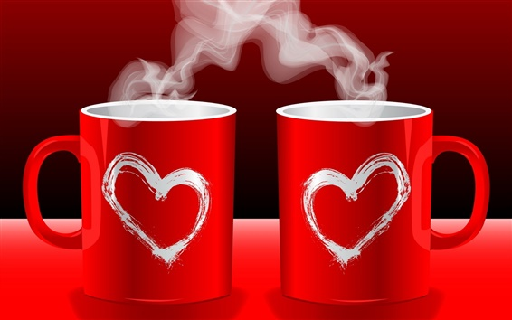Wallpaper Red love couple coffee mugs