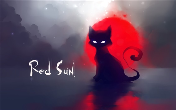 Wallpaper Red sun black cat painting