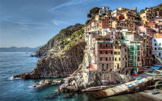 Обои Риомаджоре Италии побережье пейзаж зданий