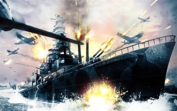 壁紙 海の船の戦争プレーン