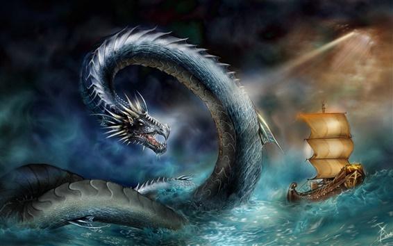 Обои Море змея атаки корабля