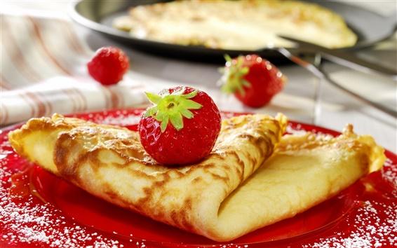 배경 화면 딸기 팬케이크