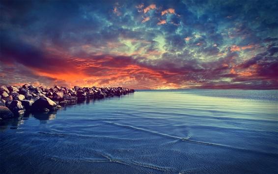 Wallpaper Sunset coast with rocks