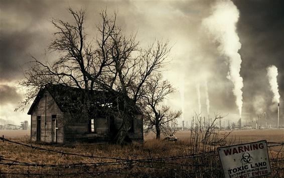 Papéis de Parede As casas de poluição causada pela fumaça da fábrica