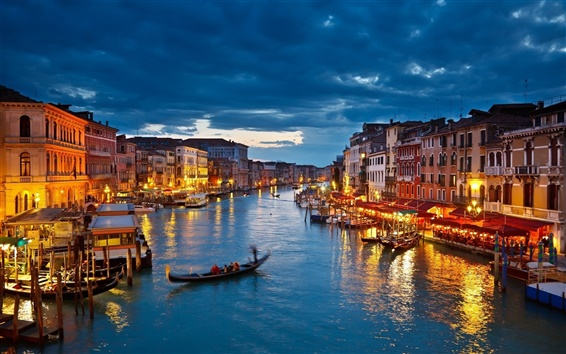 Wallpaper The lights of Venice Canal at night