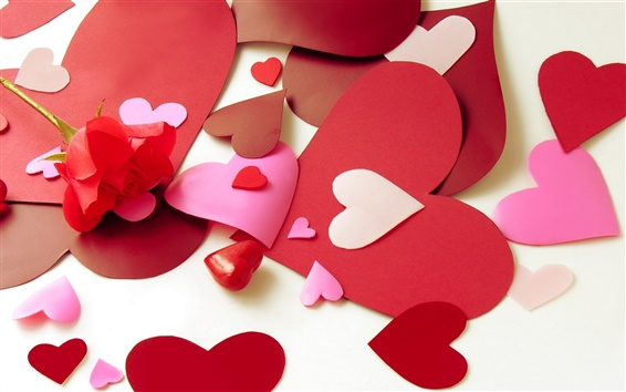 Wallpaper Valentine's Day love heart-shaped paper-cut