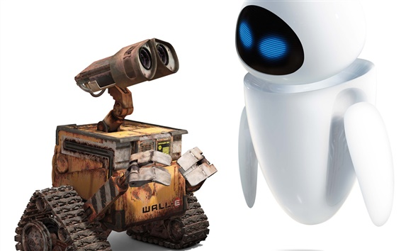 Wallpaper WALL-E robot Valli and Eve friendship