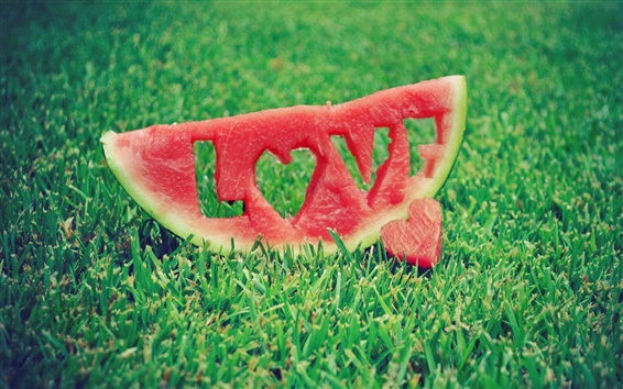 Wallpaper Watermelon Love Grass