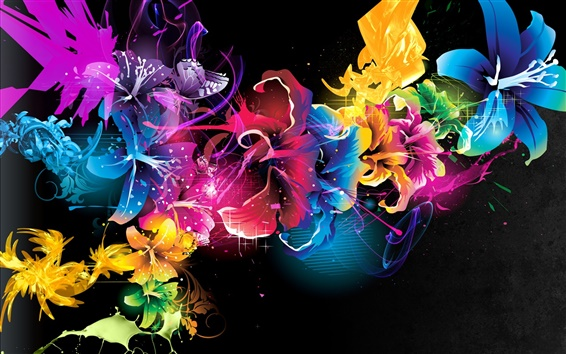 Wallpaper Abstract patterns lines colors flowers