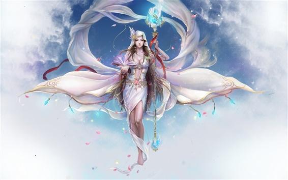 배경 화면 예술적 창조 하얀 요정 소녀
