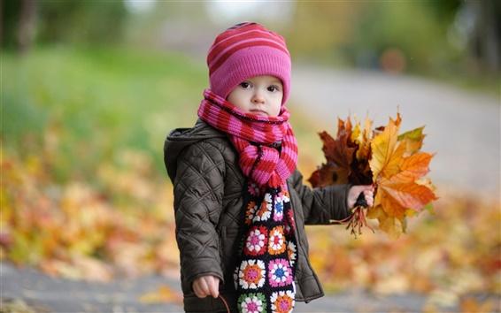 배경 화면 가을에는 귀여운 아기