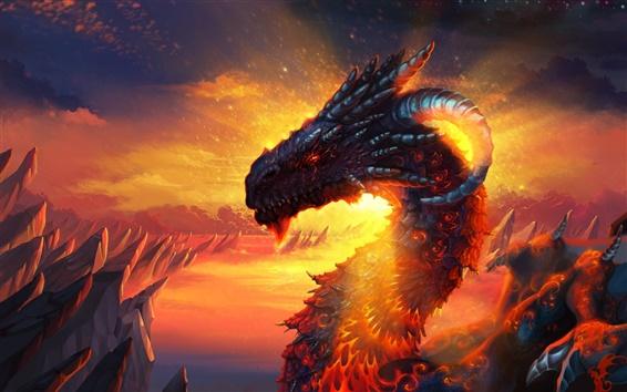 Fond d'écran Dragon de lave ciel