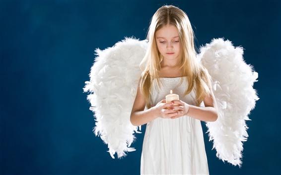 Fond d'écran Angel Girl ailes bougie enfants tristes