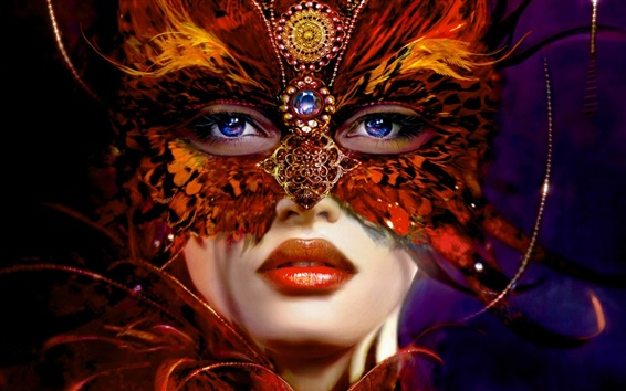 Wallpaper Girlfriend jewelry feather mask