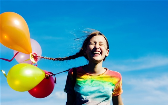 Wallpaper Happy girl with balloons