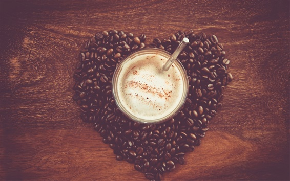 Wallpaper Heart-shaped love of coffee and coffee beans