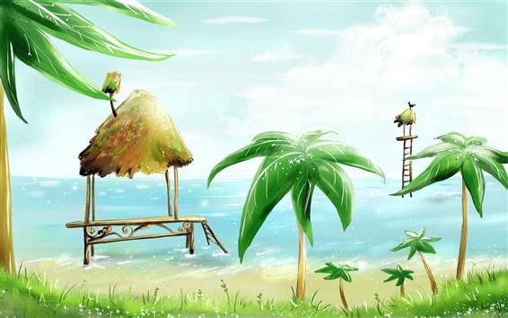 Fondos de pantalla Palm Beach cabinas de aves marinas vector de la pintura
