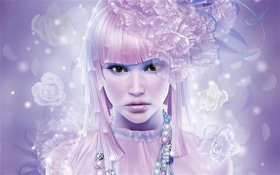 Fond d'écran Jeune fille aux cheveux rose et des fleurs