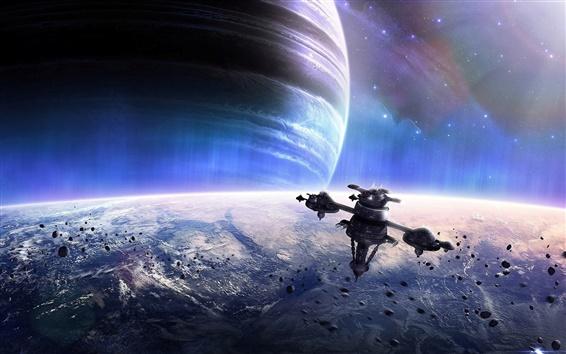 Wallpaper Planet shine meteorites satellite