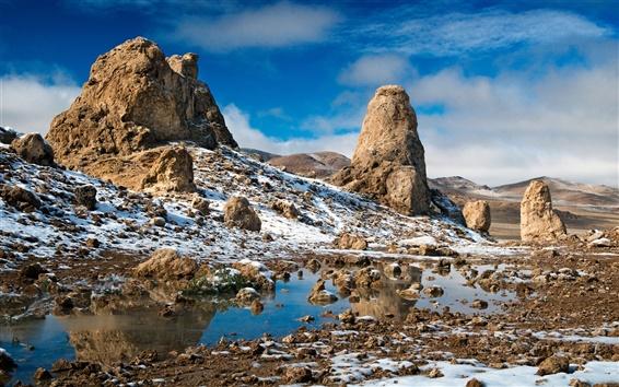 Papéis de Parede Neve rochas deserto
