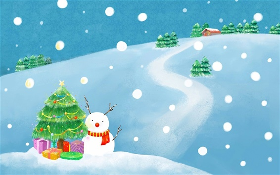 Wallpaper Winter Christmas exquisite paintings