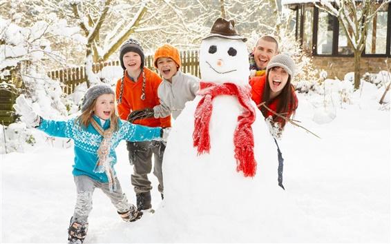 Wallpaper Winter snowman fun