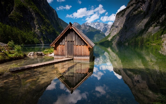 Fondos de pantalla Casa de madera lago de montaña