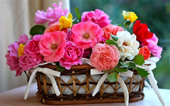 Wallpaper A basket of roses