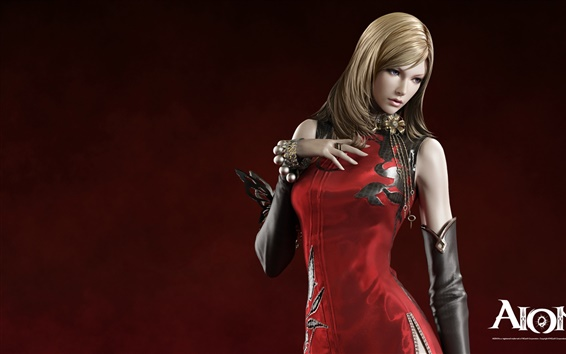 Wallpaper AION red dress blonde girl