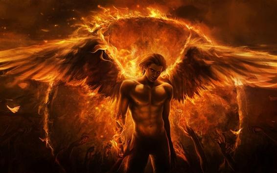 Обои Черная магия огня ангел