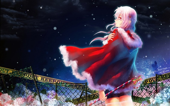 Wallpaper Christmas red dress anime girl
