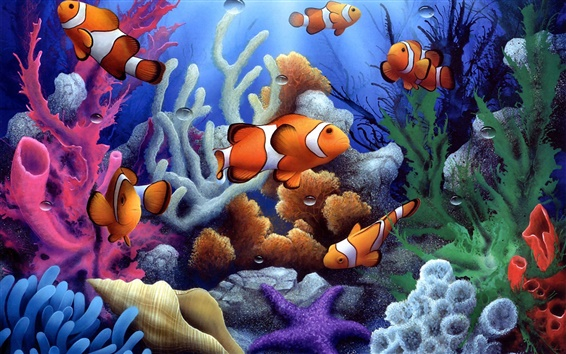 Wallpaper Colorful underwater coral and fish