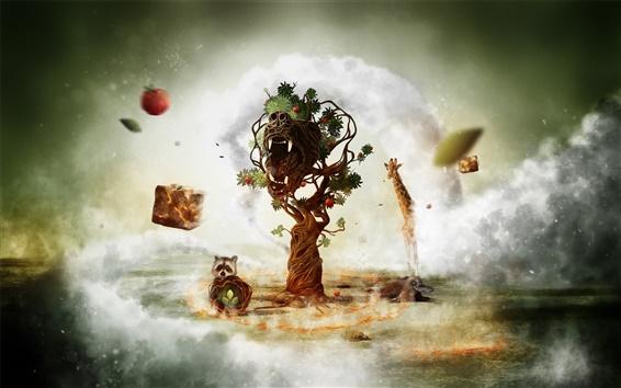 Wallpaper Fantasy art creative animals and tree