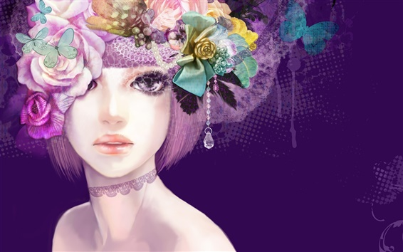 Wallpaper Girl Colorful flowers hair creative