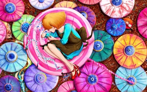 Wallpaper Girl umbrellas art