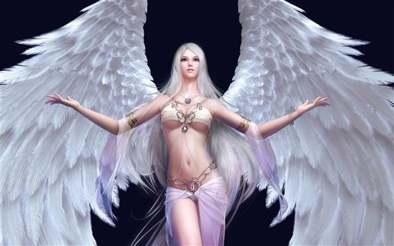 Обои Девушка белый ангел крылья
