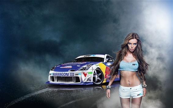 Обои Девушка с автомобилем Nissan 350Z Drift