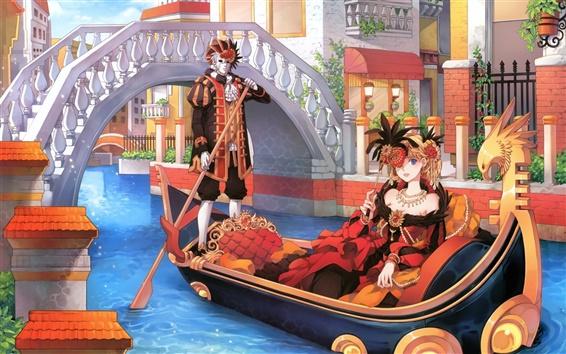 Papéis de Parede Halloween menina anime barco