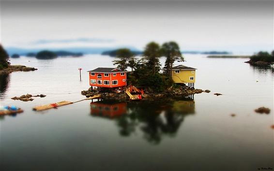 Обои Дома острове озера