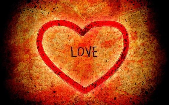 배경 화면 하트 모양의 빨간색 배경 사랑