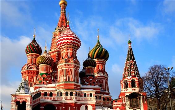배경 화면 모스크바의 성 바실 성당