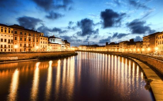 Wallpaper Night of Pisa, Italy