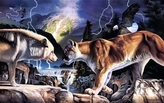 Hintergrundbilder Gemälde von Wölfen und Löwen Duell