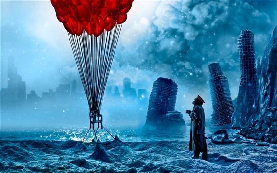 배경 화면 파란 종말의 스타일로 빨간 풍선