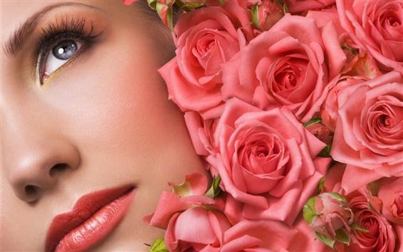 Fond d'écran Bourgeons Rose face à make-up girl