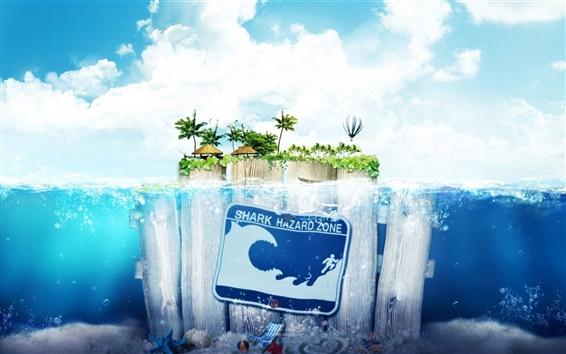 Fond d'écran Mer du bois île de l'eau du ciel créative