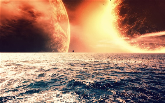 Wallpaper The red planet on the sea horizon