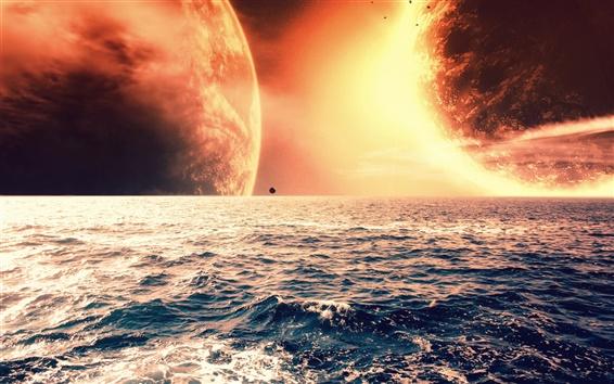 배경 화면 바다 수평선에 붉은 행성