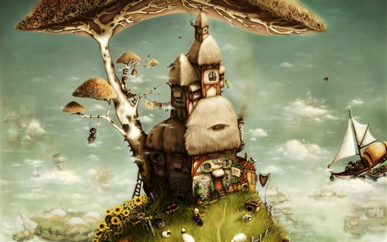 Wallpaper Tree house art fantasy