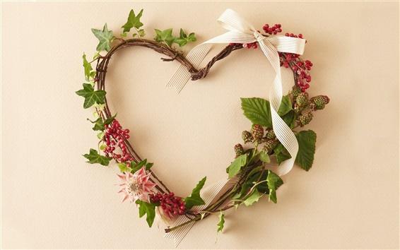 Wallpaper Woven heart-shaped wreath